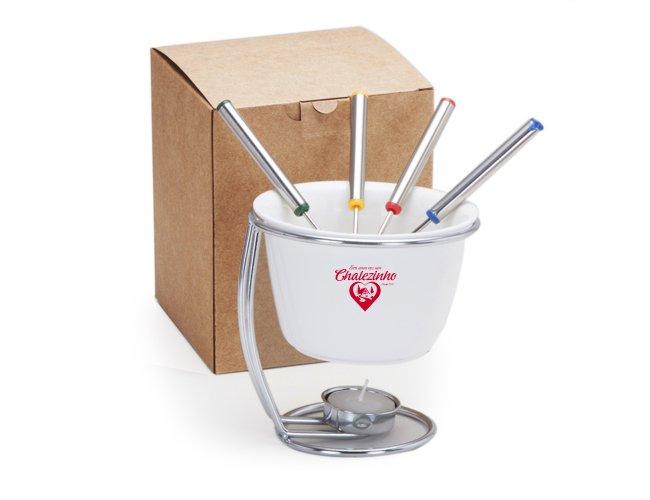 Kit Fondue de porcelana com caixa presente