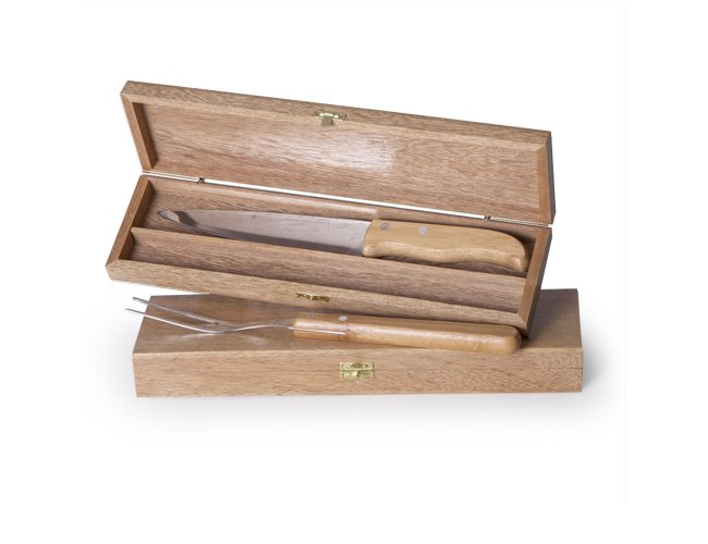 Kit Churrasco com embalagem de madeira